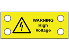 Warning high voltage cable tie tag.