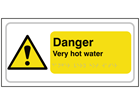 Danger Very hot water text and symbol sign.
