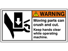 Warning moving parts can crush or cut label