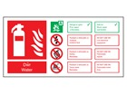 Dŵr / Water fire extinguisher safety sign.