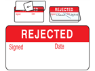 Rejected jumbo write and seal labels.