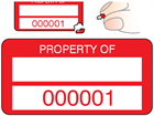 Property asset label, numbered, destructible