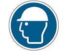 Wear head protection symbol floor graphic marker.