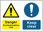 COSHH. Danger contamination risk, Keep clear sign.