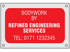 Anodised Aluminium Nameplate (Single Colour), 50mm x 75mm.