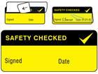 Safety checked write and seal labels.