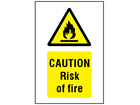 Caution risk of fire symbol and text safety sign.