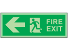 Fire exit, arrow left photoluminescent safety sign