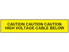 Caution high voltage cable below tape.