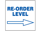 Re-order level, arrow right, sign.