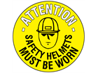 Attention safety helmets must be worn floor marker