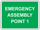 Emergency assembly point, with number or letter required sign