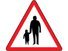 Pedestrians in road ahead sign