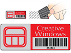Scanmark tamper evident barcode label (logo / full design), 19mm x 50mm