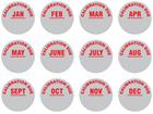 Calibration due month aluminium foil labels.
