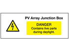 PV array junction box, danger contains live parts during daylight PV hazard label