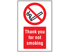 Thank you for not smoking symbol and text safety sign.