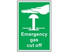 Emergency gas cut off symbol and text safety sign.