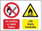 No smoking or naked flames, LPG highly flammable safety sign.