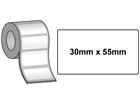 Thermal printer labels, self adhesive paper, 30mm x 55mm.