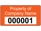 Assetmark tamper evident serial number label (text on colour), 19mm x 38mm