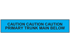 Caution primary trunk main below tape.