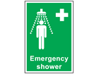 Emergency shower symbol and text sign.