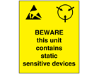 Beware this unit electrical warning label