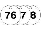 Plastic valve tags, numbered 76-100