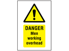 Danger, Men working overhead symbol and text safety sign.