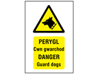 Perygl Cwn gwarchod, Danger Guard dogs. Welsh English sign.