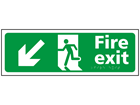 Fire exit, running man, arrow down left sign.