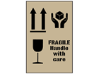 Combination fragile, handle with care and this way up stencil