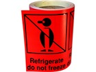 Refrigerate do not freeze shipping label.