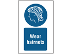 Wear hairnets symbol and text safety sign.