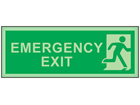 Emergency exit, running man photoluminescent safety sign