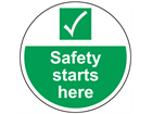 Safety starts here symbol and text floor graphic marker.