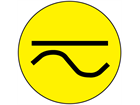 Direct and alternating current symbol label.