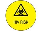 HIV risk symbol and text safety label.