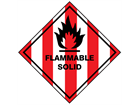 Flammable solid hazard warning diamond sign
