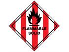 Flammable solid hazard warning diamond sign