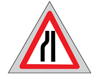 Road ahead narrows on left (nearside) roll up road sign