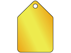 Blank brass pentagonal metal tags.