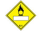 Oxidiser, oxidising agent 5.1, hazard diamond label (with write on panel)