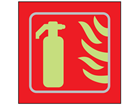 Fire extinguisher symbol photoluminescent sign.