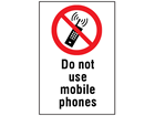 Do not use mobile phones information sign