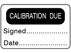 Calibration due label