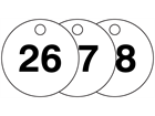 Plastic valve tags, numbered 26-50