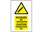 Rhybudd Aer cywasgedig, Caution Compressed air. Welsh English sign.