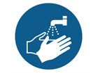 Wash hands symbol label